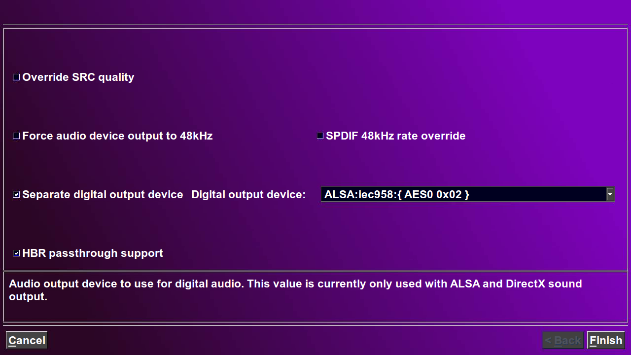 The advanced audio settings page