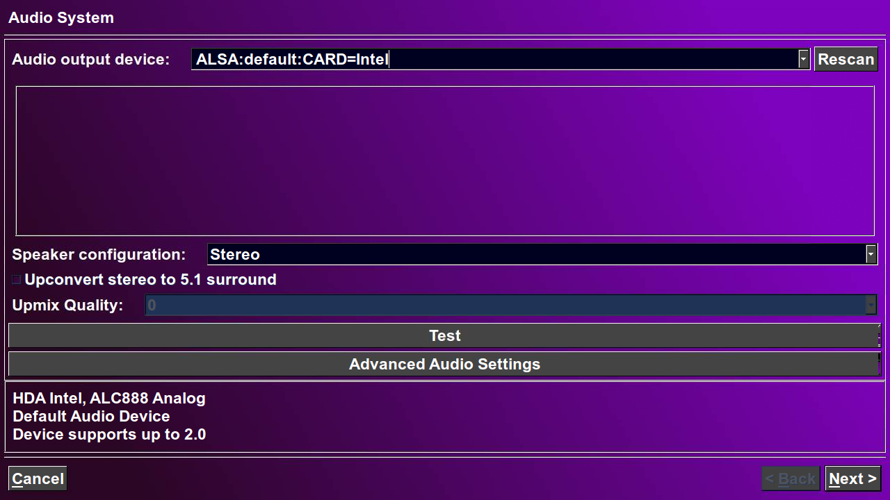 The main audio setup page