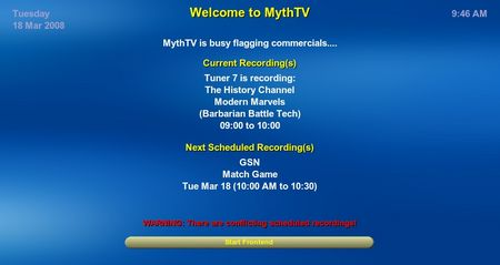 The mythWelcome Screen